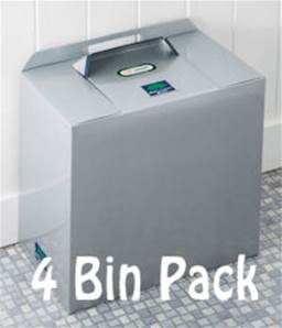SILVER GREY METALLIC BINS 4 PACK